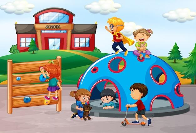 Crianças, em, cena playground