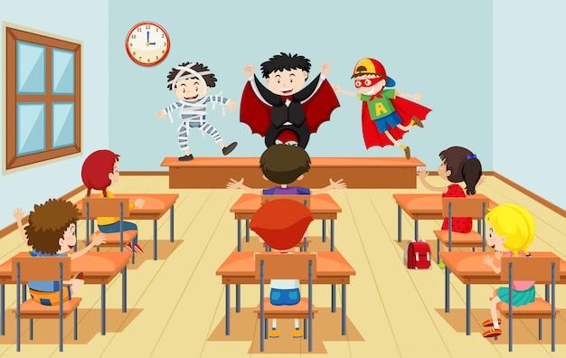 Crianças, em, classe drama