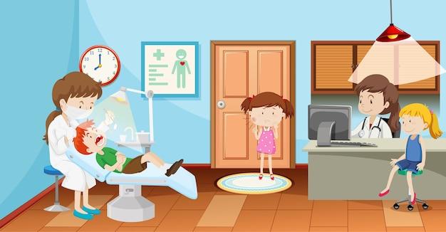 Crianças em clínica dentária com cena de dentista
