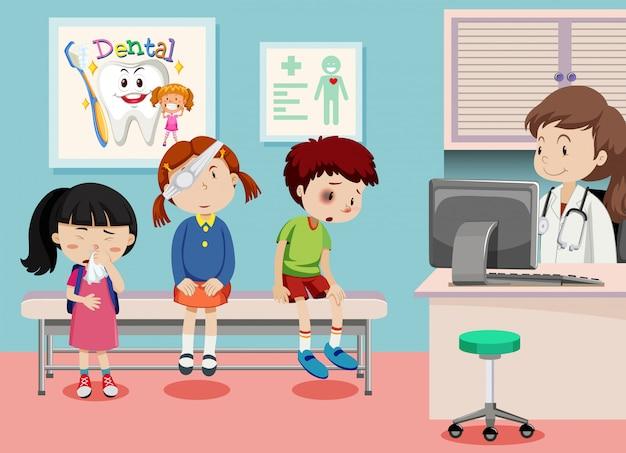 Crianças, em, clínica médica