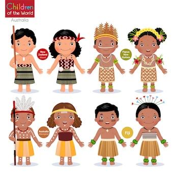 Crianças em diferentes trajes tradicionais. nova zelândia, papua nova guiné, austrália, fiji.
