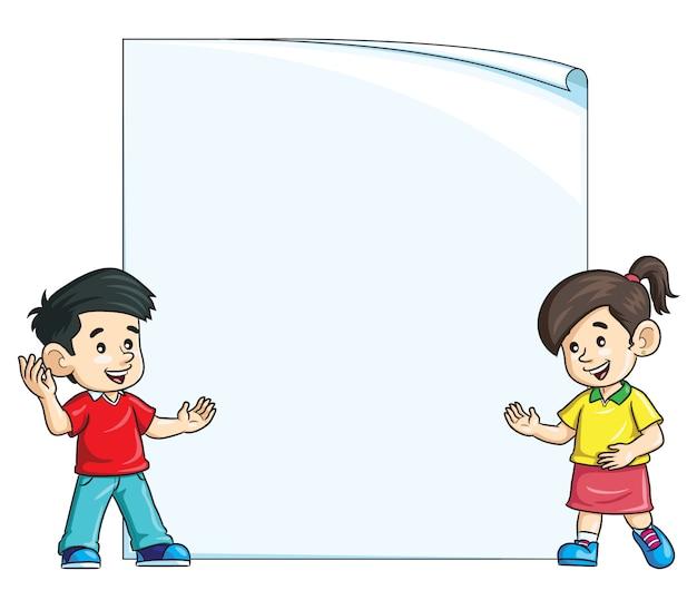 Crianças, em, em branco, papel, ilustração