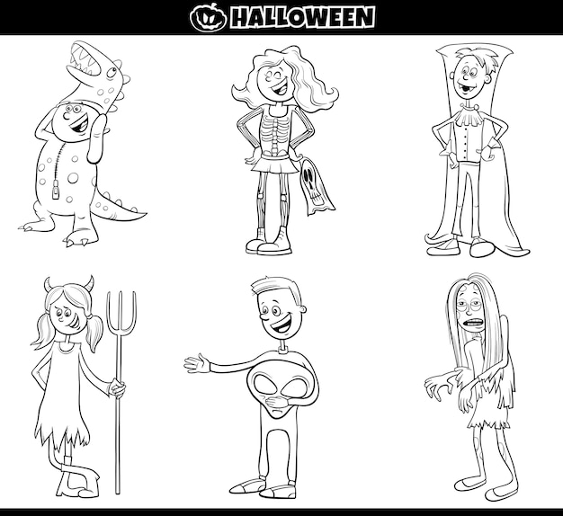 Crianças em fantasias de halloween definir desenho de página de livro para colorir