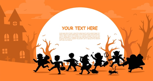 Crianças em fantasias de halloween para irem truques ou travessuras. modelo para folheto publicitário. feliz dia das bruxas.