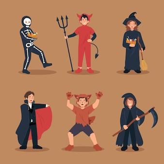 Crianças em fantasias de halloween