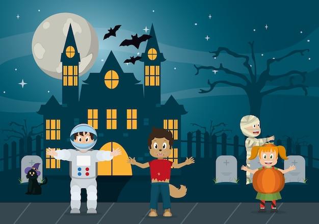 Crianças, em, halloween, caricatura
