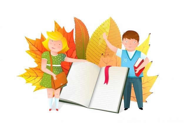 Crianças em idade escolar com ilustração plana de livro aberto