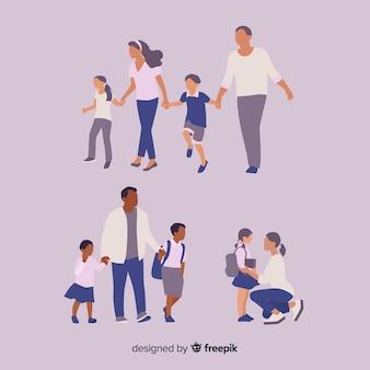 Crianças em idade escolar com os pais