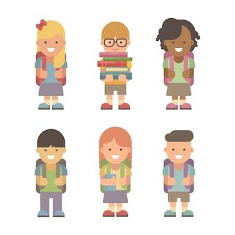 Crianças em idade escolar. conjunto de seis personagens planas