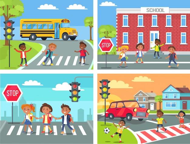 Crianças em idade escolar cross road em travessia de pedestres