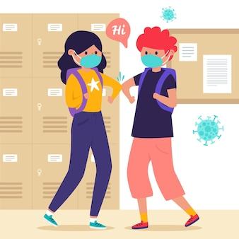 Crianças em idade escolar cumprimentando na nova ilustração normal