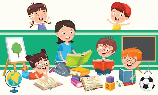 Crianças em idade escolar estudando e aprendendo
