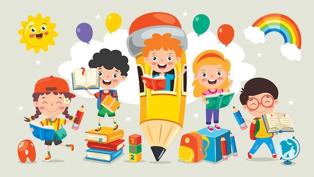 Crianças em idade escolar, estudando e aprendendo