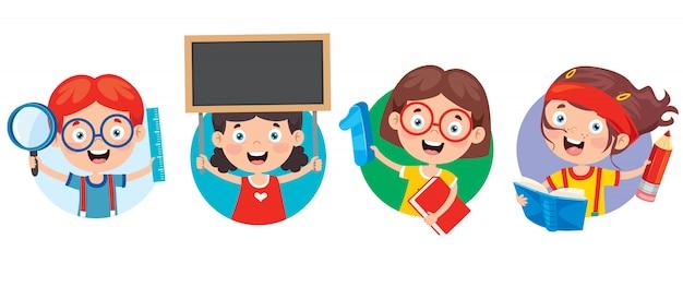 Crianças em idade escolar feliz bonito dos desenhos animados