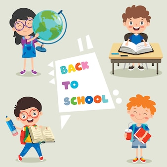 Crianças em idade escolar feliz fofo