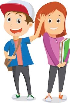Crianças em idade escolar feliz indo para a escola e acenando adeus. de volta ao conceito de escola