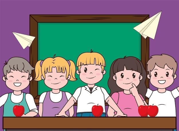 Crianças em idade escolar no quadro da frente
