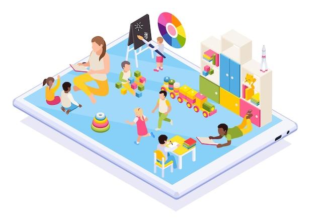 Crianças em idade pré-escolar aprendendo ilustração isométrica online