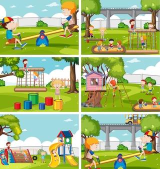Crianças, em, jogo playground