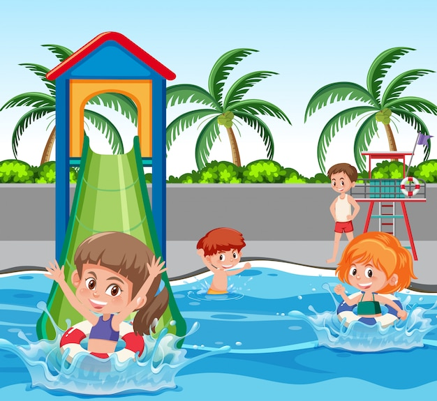Crianças, em, parque água