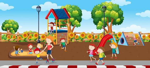 Crianças, em, plaground, cena