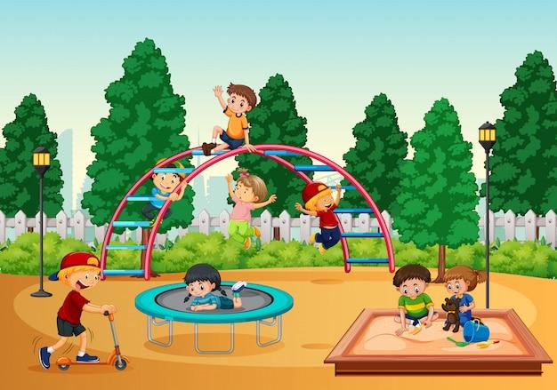 Crianças, em, playgrond, cena