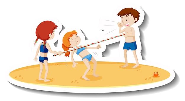 Crianças em traje de banho brincando de dança do limbo na praia