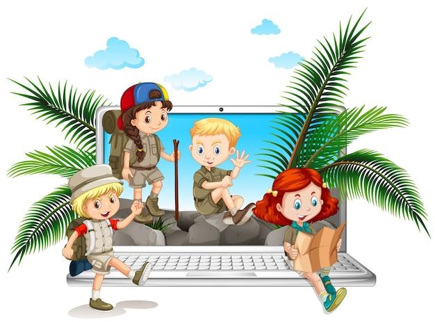 Crianças em traje de safári na tela do computador