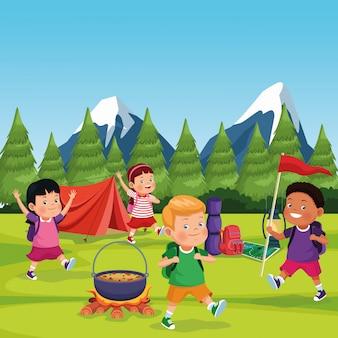 Crianças, em, um, acampamento, zona