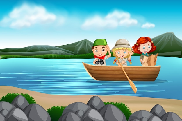 Crianças, em, um, barco, cena
