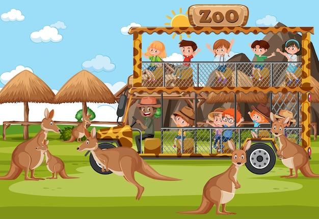 Crianças em um carro de turismo observando um grupo de canguru na cena do zoológico