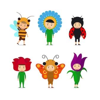 Crianças em vestidos extravagantes para insetos e flores