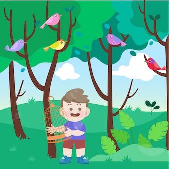 Crianças encontrar uma ilustração vetorial de pássaro