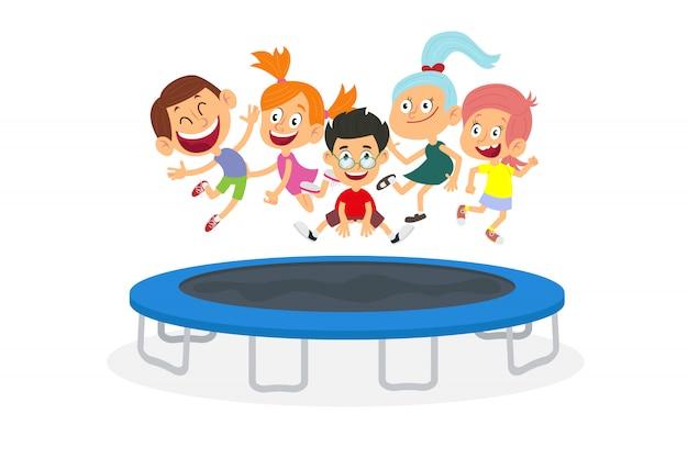 Crianças energéticas pulando no trampolim isolado no fundo branco.
