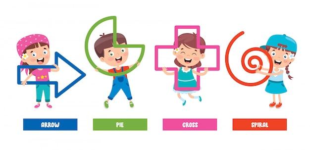 Crianças engraçadas aprendendo formas básicas
