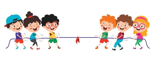 Crianças engraçadas brincando de puxar corda