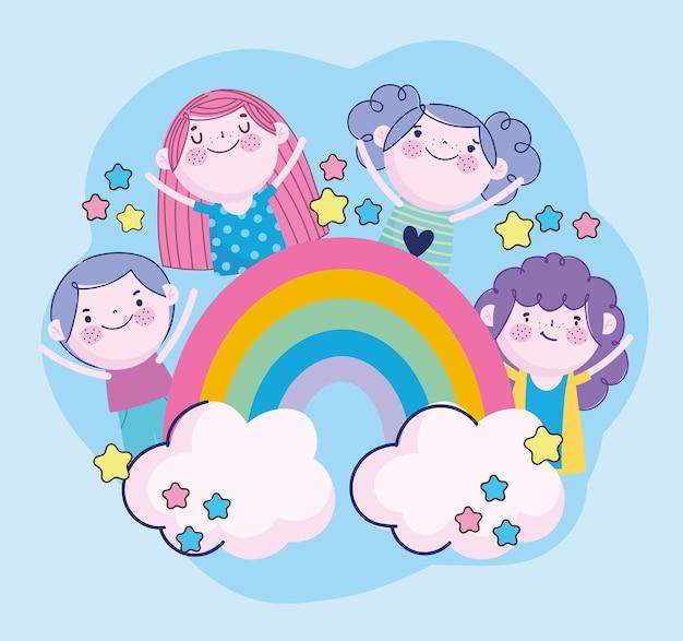 Crianças engraçadas juntas estrelas desenho do arco-íris, ilustração infantil