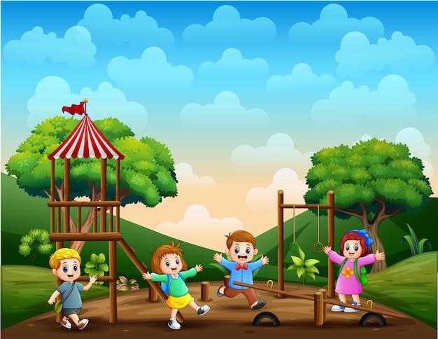 Crianças engraçadas na ilustração do parque