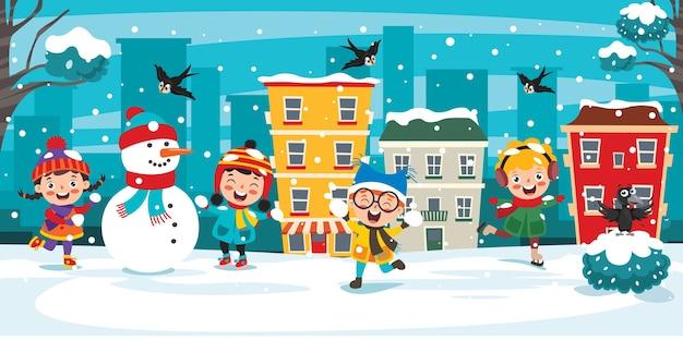 Crianças engraçadas se divertindo no inverno
