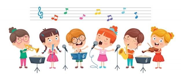 Crianças engraçadas tocando música