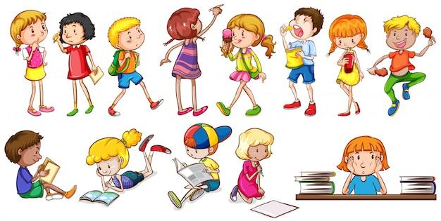 Crianças envolvidas em diferentes atividades