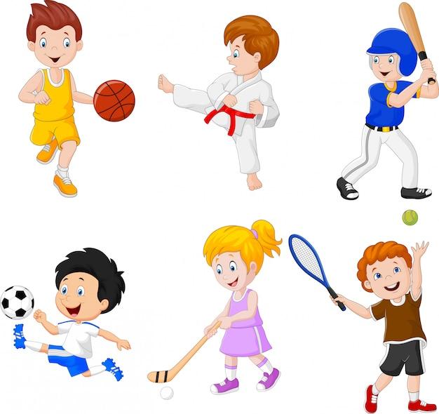 Crianças envolvidas em diferentes passatempos