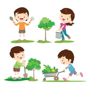 Crianças envolvidas em jardinagem