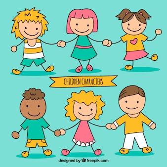 Crianças esboçado personagens