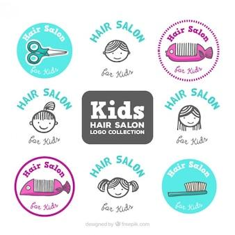 Crianças esboços logos cabeleireiro definidos