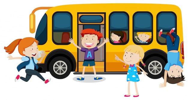 Crianças, escola, autocarro