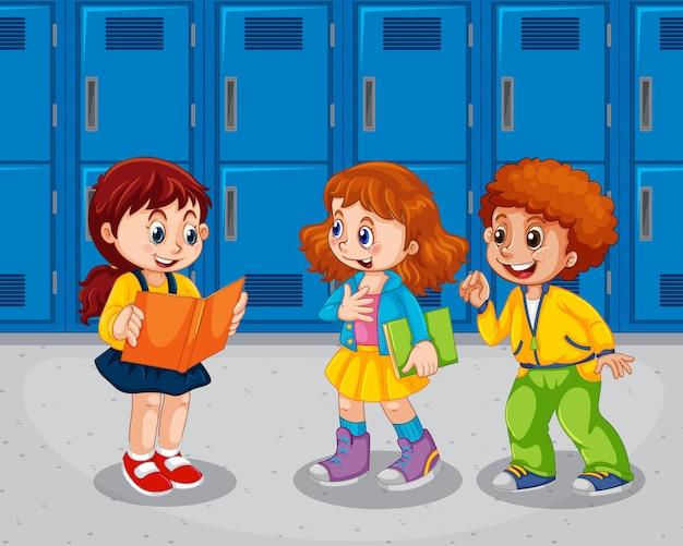 Crianças, escola, corredor