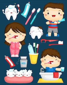 Crianças escovando o conjunto de vetores de dentes