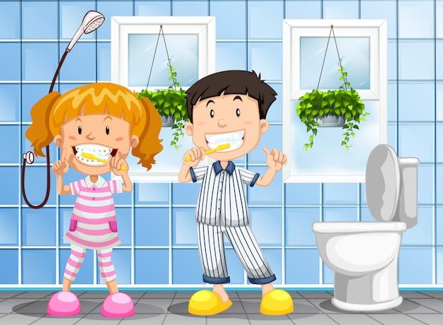 Crianças, escovar os dentes