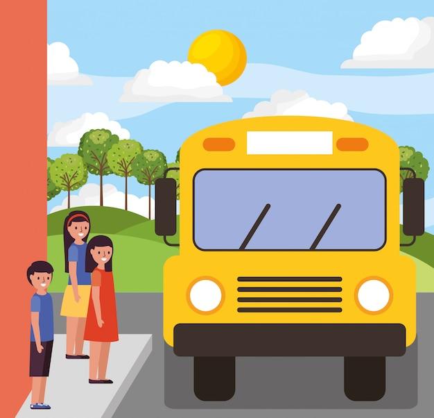 Crianças, esperando, escola, autocarro